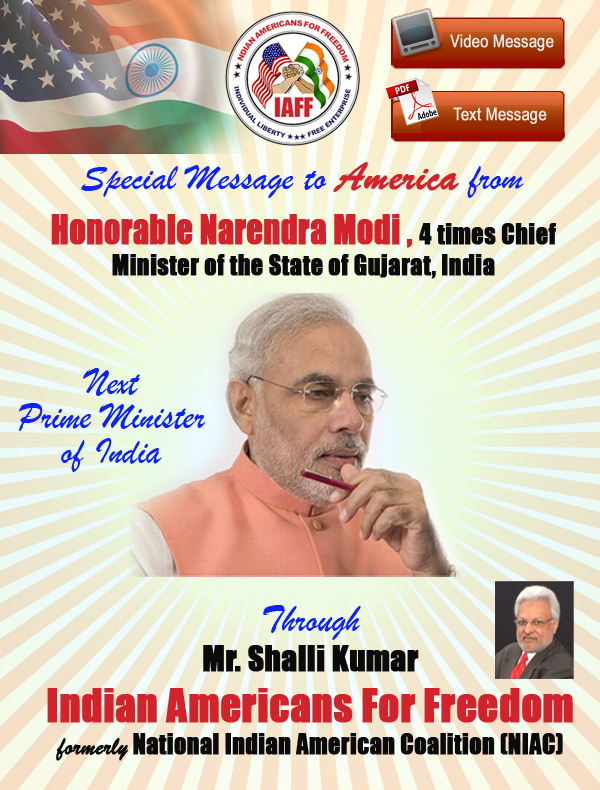 Honrable Modi, CM Gujrat India. Message